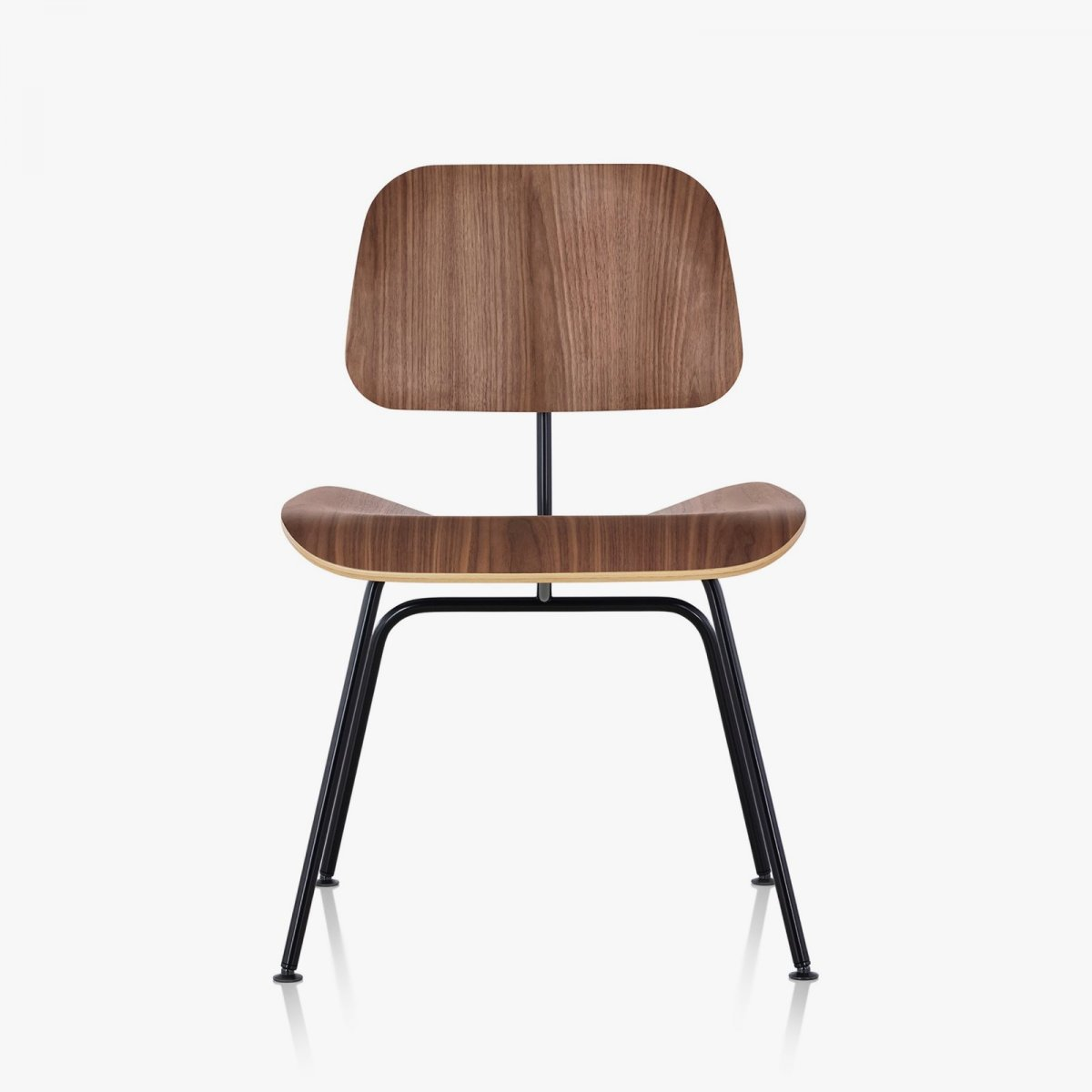 Eames Molded Plywood Dining Chair with Metal Base, walnut seat and back, black base, front view.