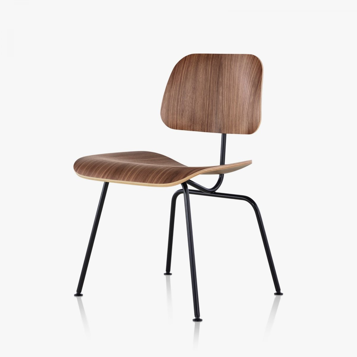 Eames Molded Plywood Dining Chair with Metal Base, walnut seat and back, black base.