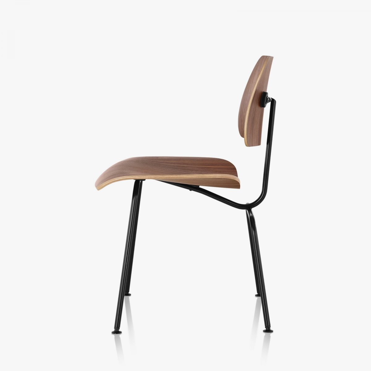 Eames Molded Plywood Dining Chair with Metal Base, walnut seat and back, black base, side view.