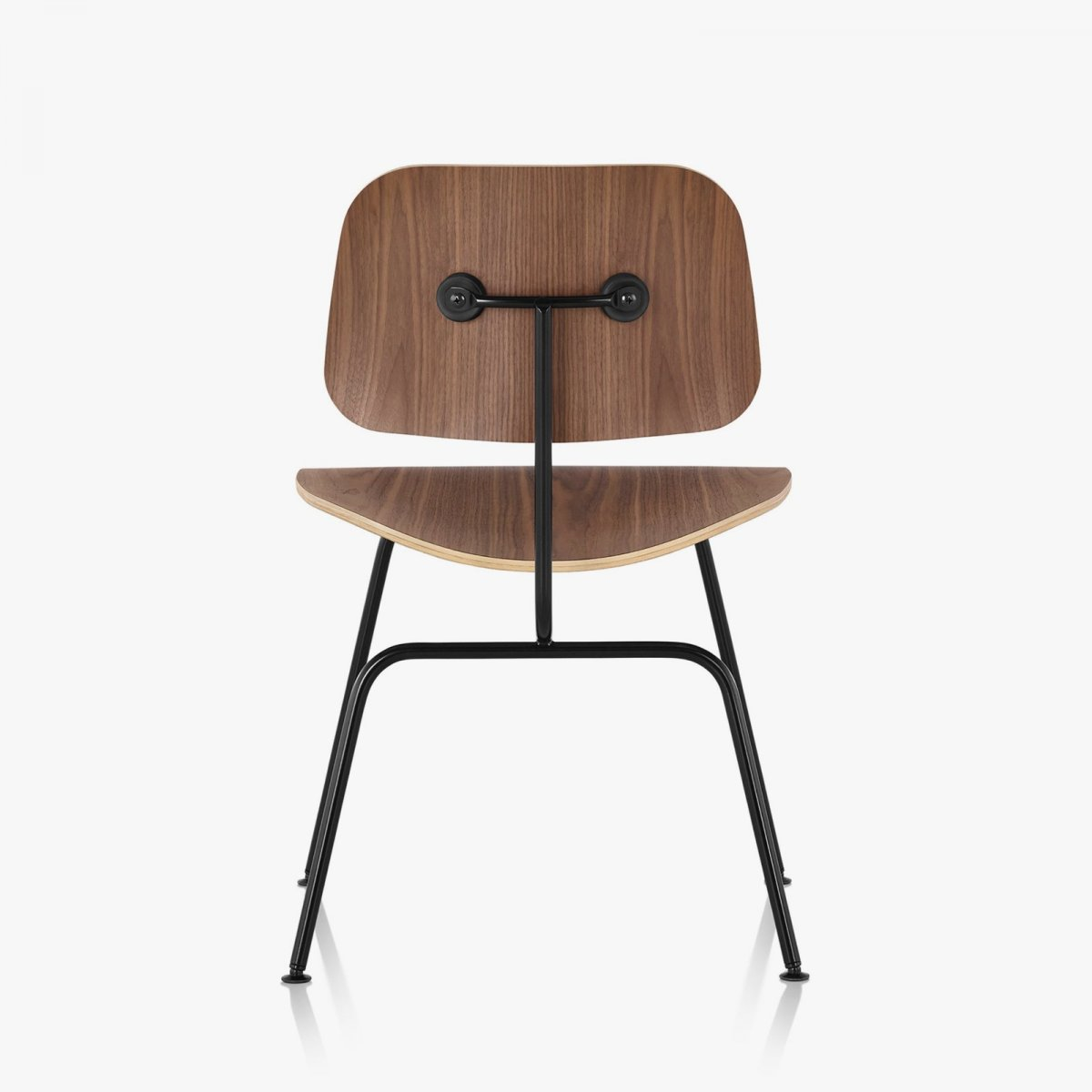 Eames Molded Plywood Dining Chair with Metal Base, walnut seat and back, black base, back view.