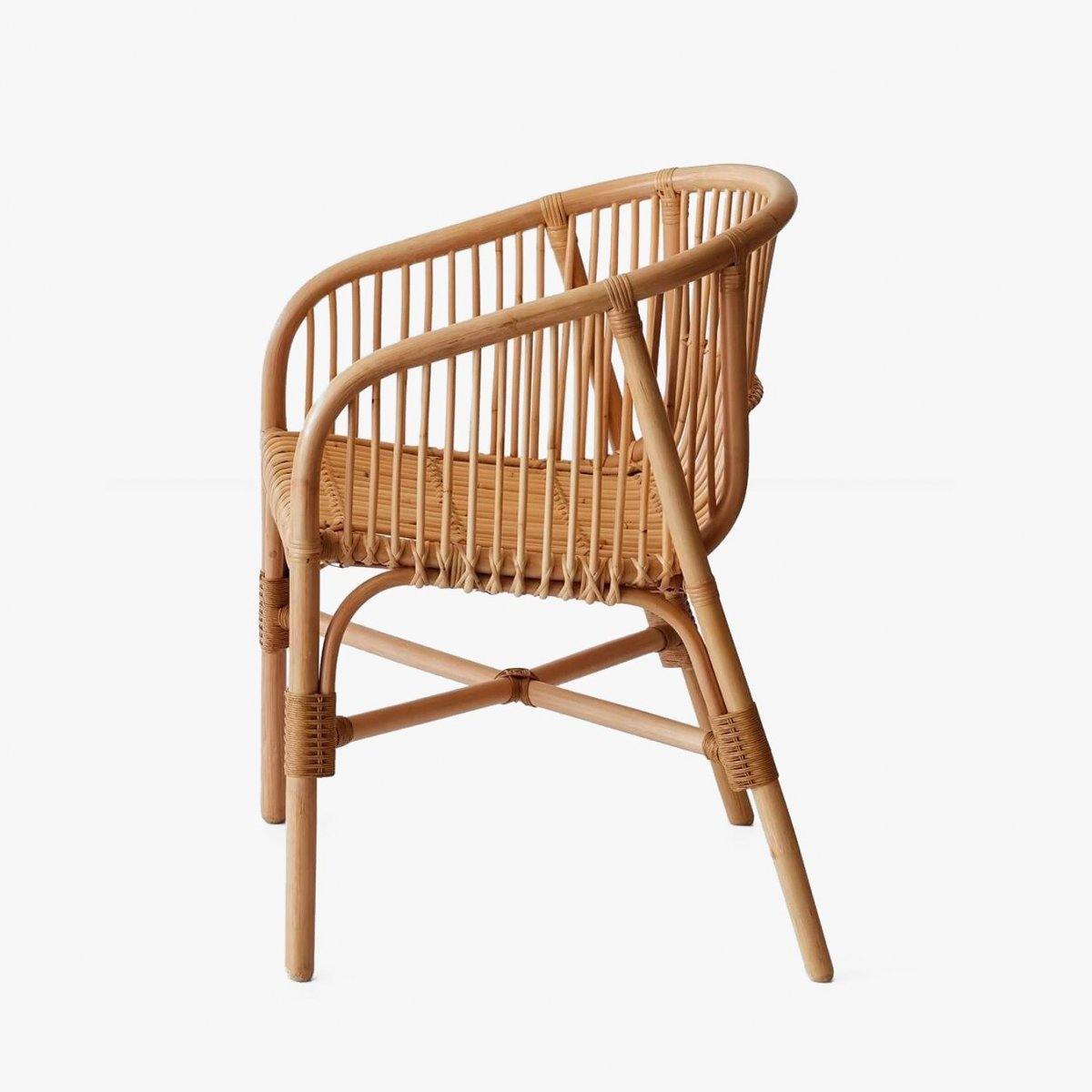 Jakarta Rattan Dining Chair, side view.