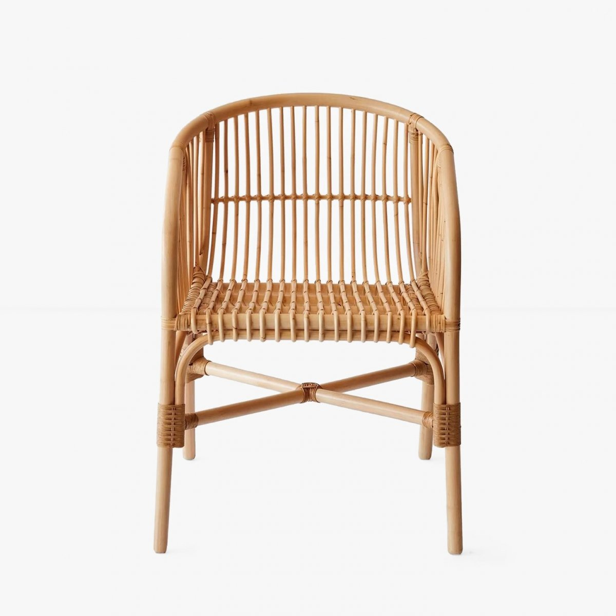 Jakarta Rattan Dining Chair, front view.