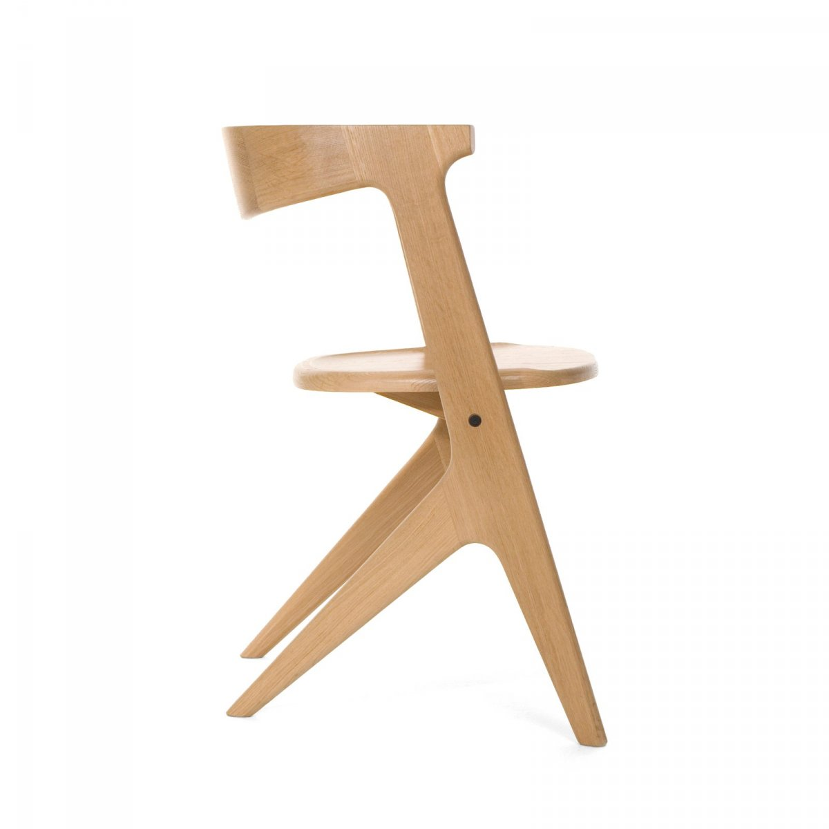 Slab Chair, natural, side view.