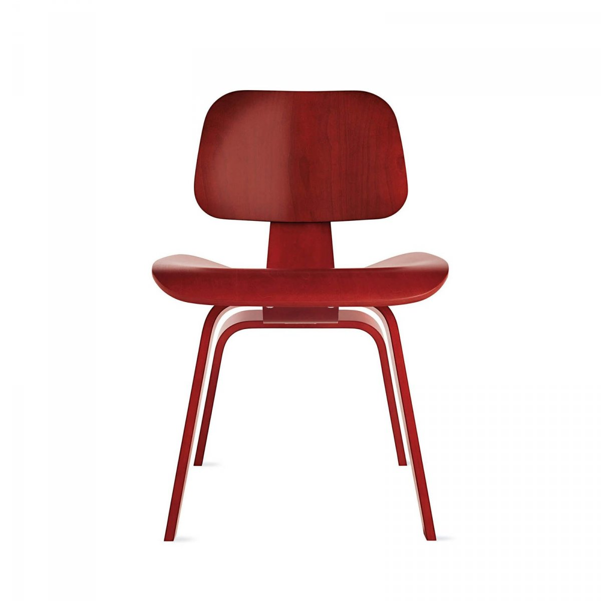 Eames Molded Plywood Dining Chair Wood Base, red aniline stained birch.