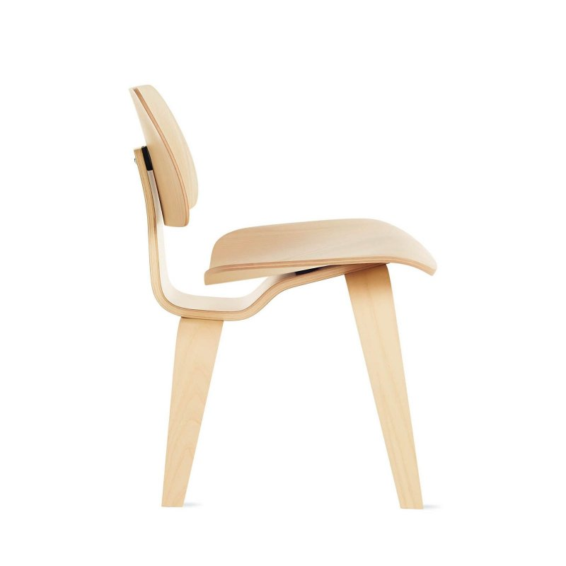 Eames Molded Plywood Dining Chair Wood Base, white ash, side view.