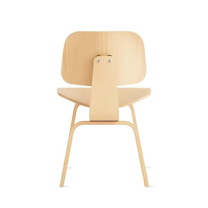 Eames Molded Plywood Dining Chair Wood Base, white ash, back view.