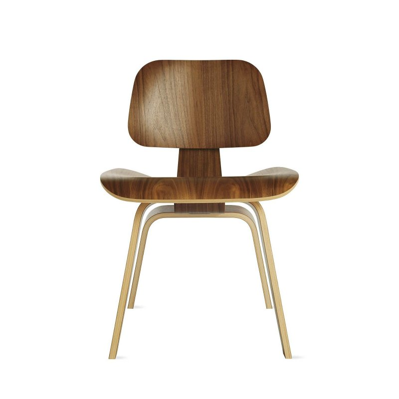 Eames Molded Plywood Dining Chair Wood Base, walnut.