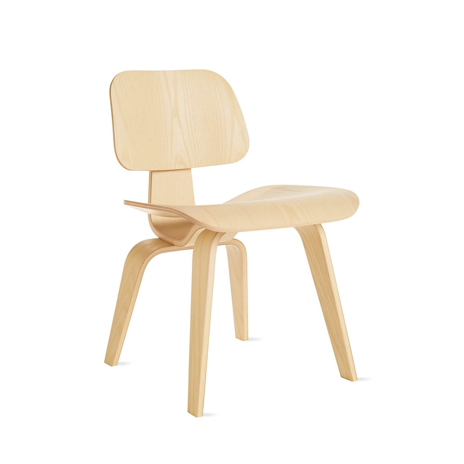 Eames Molded Plywood Dining Chair Wood Base, White Ash.