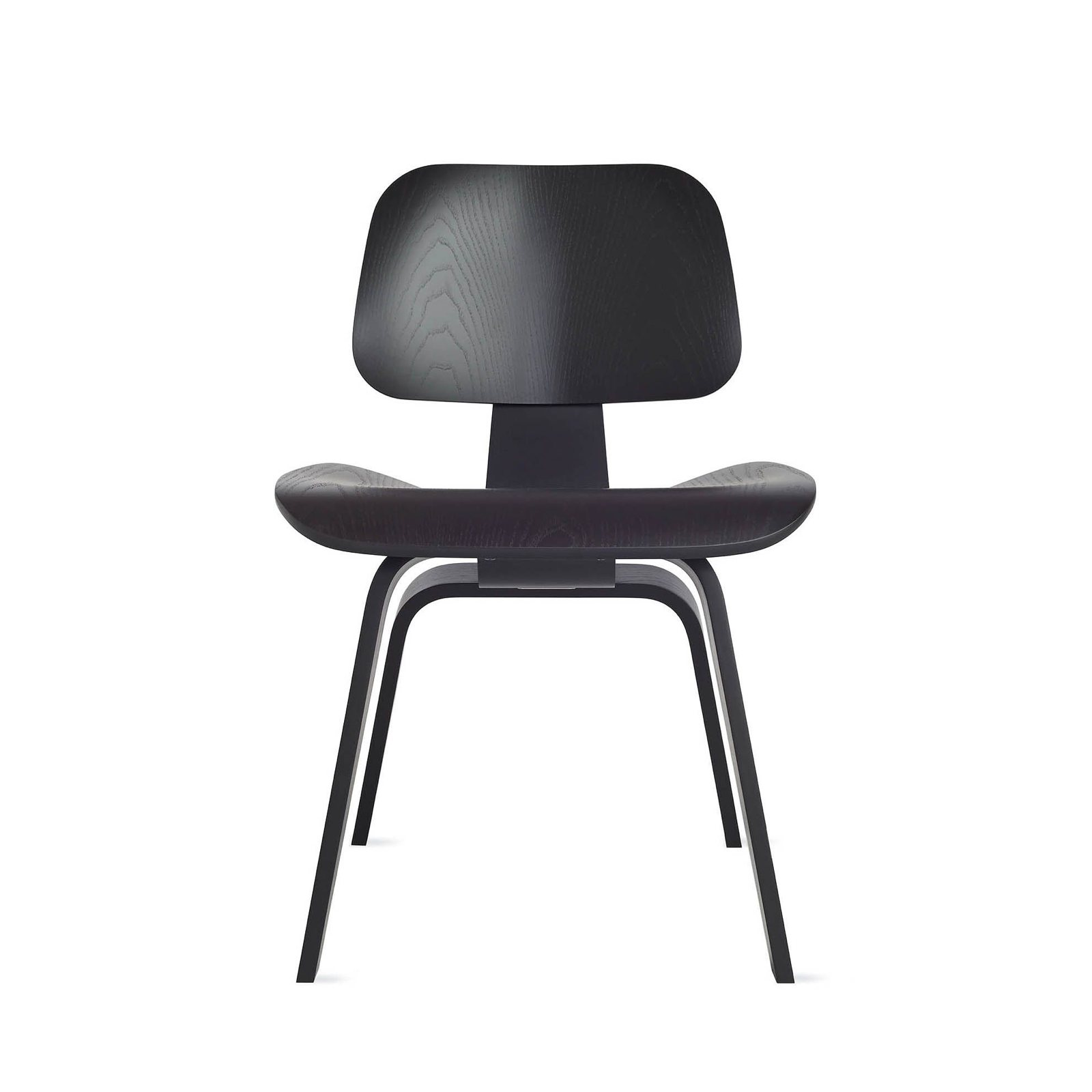 Eames Molded Plywood Dining Chair Wood Base, Ebony Stained.