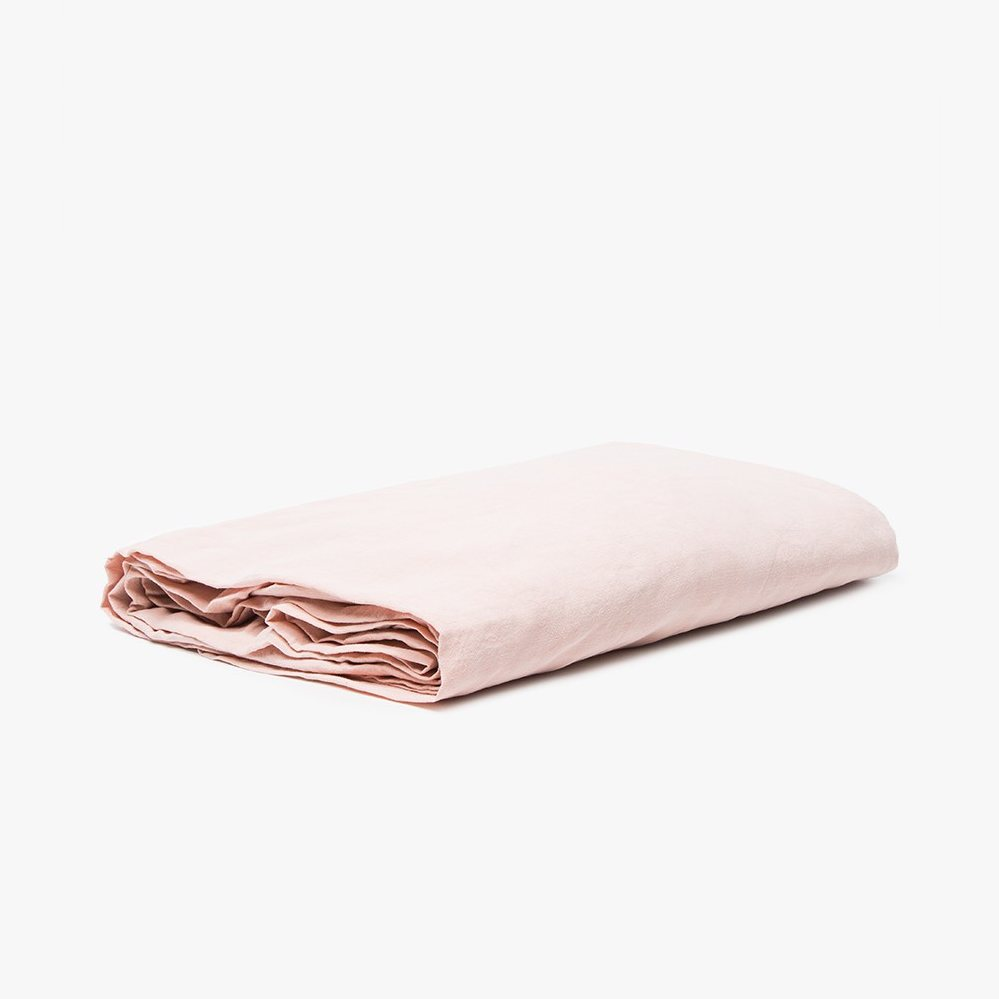 Simple Linen Fitted Sheet, blush.