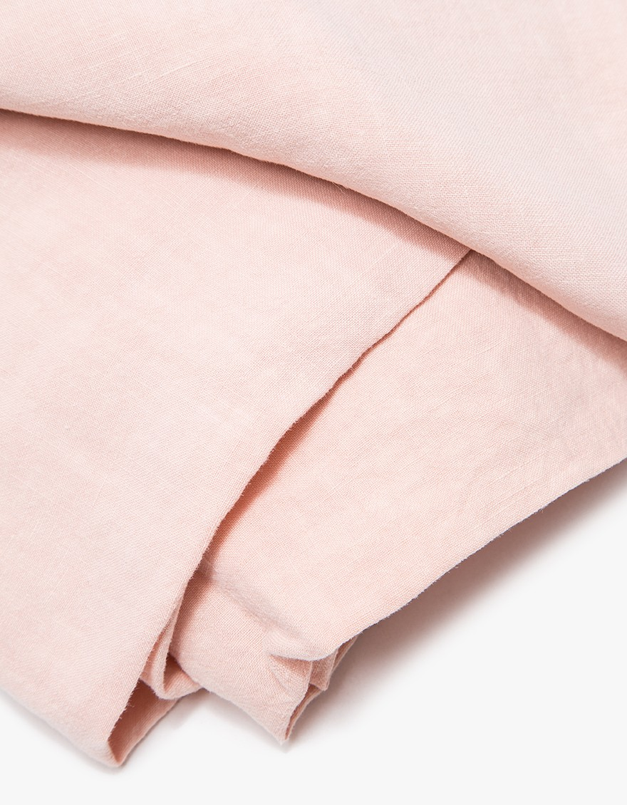 Simple Linen Fitted Sheet, blush, detail.