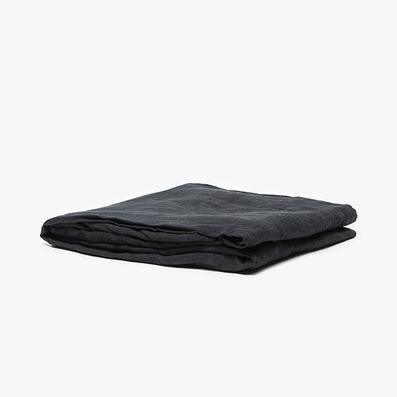 Simple Linen Fitted Sheet, black.