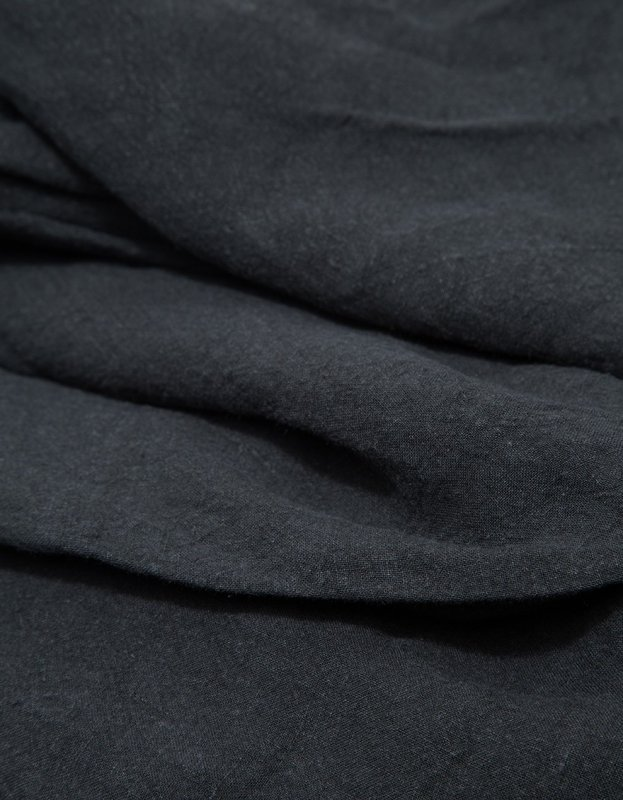 Simple Linen Fitted Sheet, black, detail.