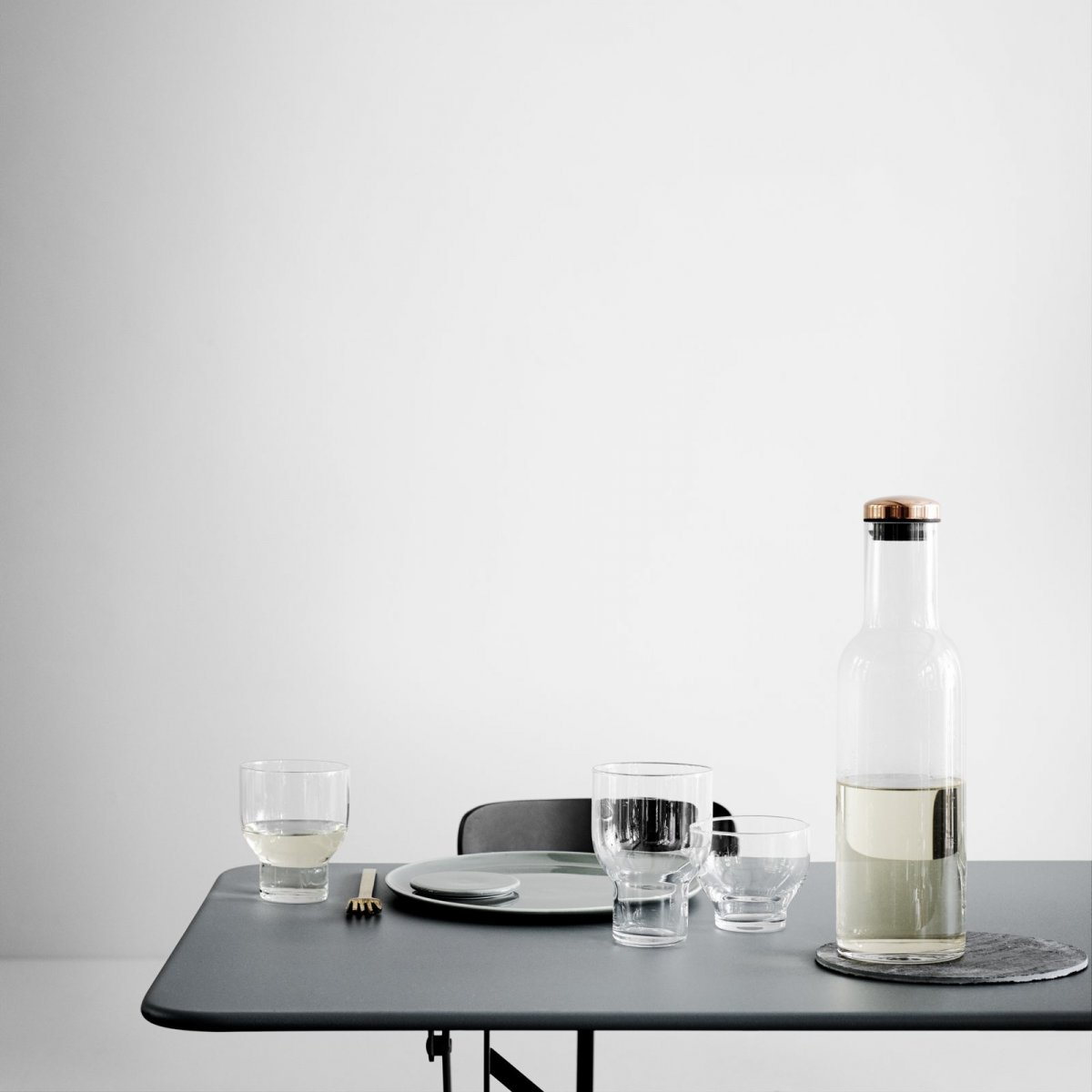 Bottle Carafe and Stackable Glasses.