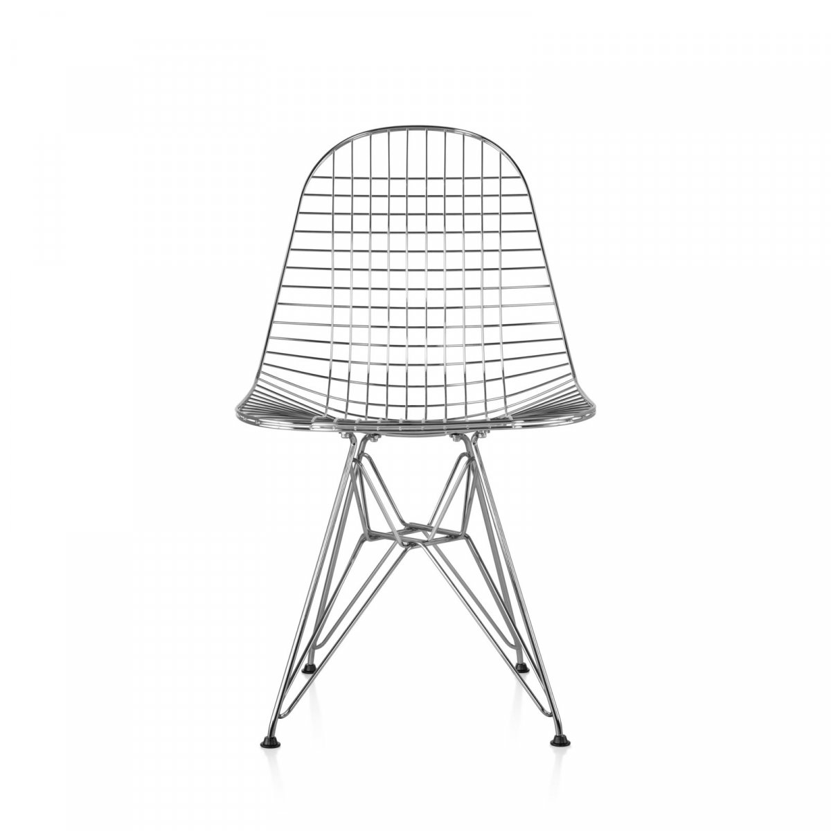 Eames Wire Chair, chrome, front view.