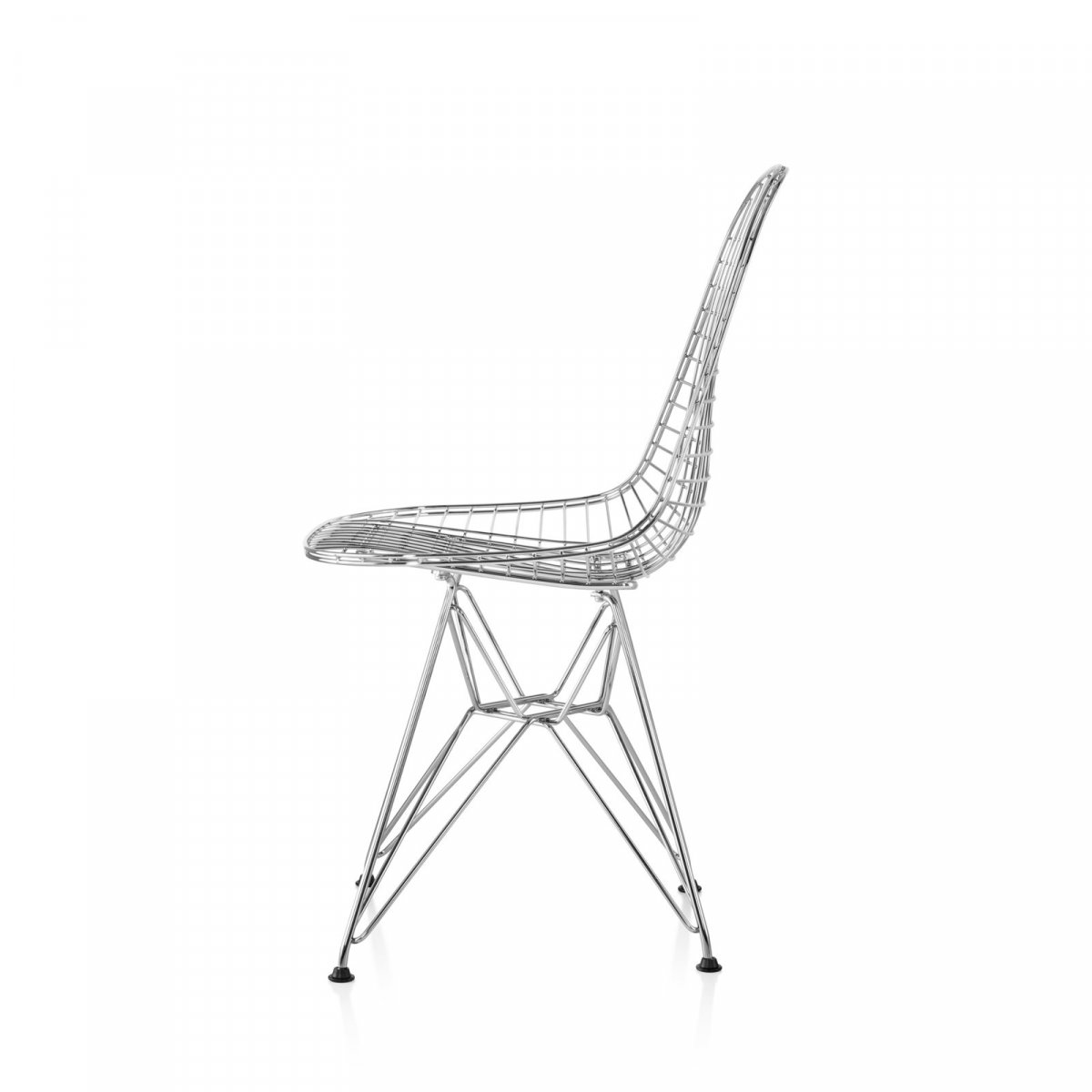 Eames Wire Chair, chrome, side view.