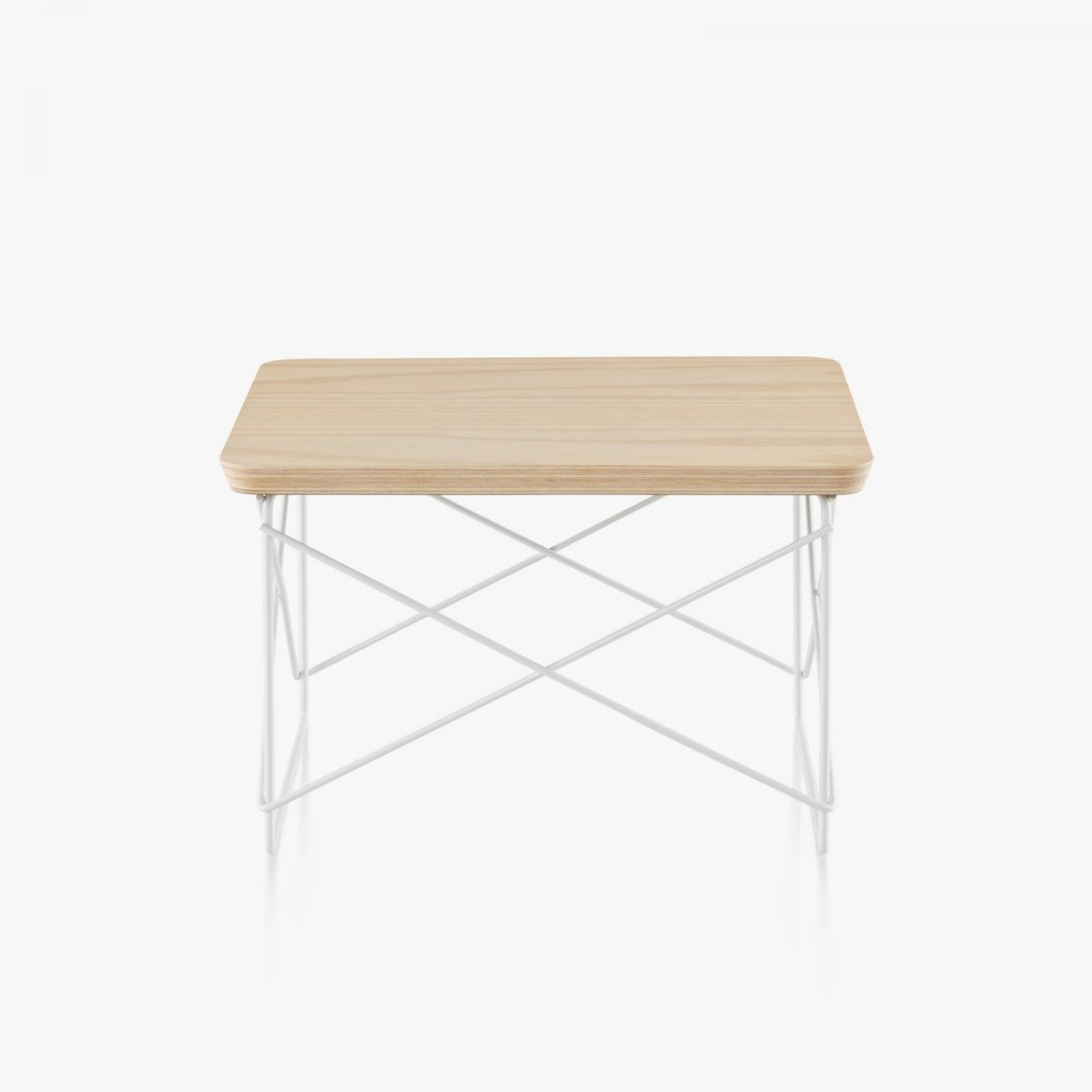 Eames Wire Base Low Table, white ash top with white base.