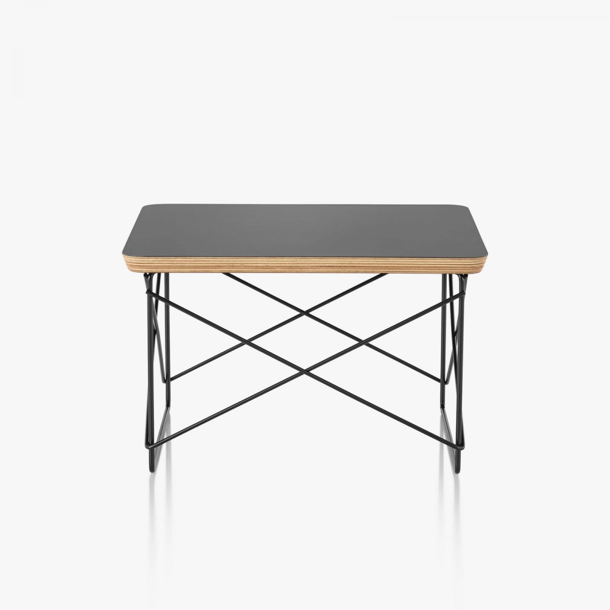Eames Wire Base Low Table, black top with black base.