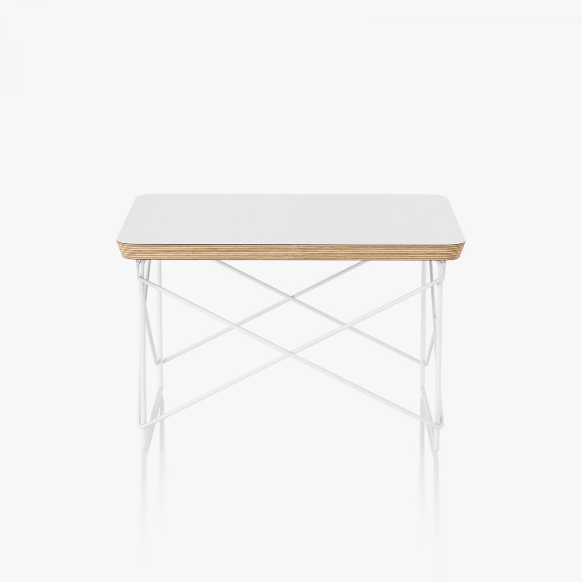 Eames Wire Base Low Table, white top with white base.