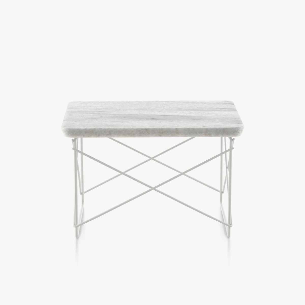 Eames Wire Base Low Table, Georgia gray marble top with white base.