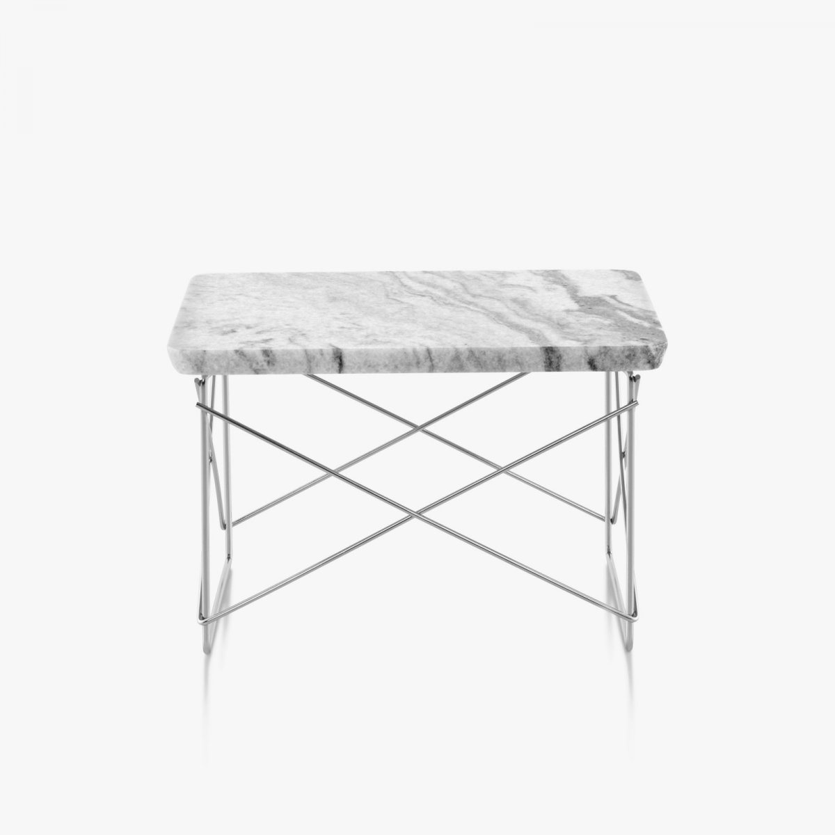 Eames Wire Base Low Table, Georgia gray marble top with trivalent chrome base.