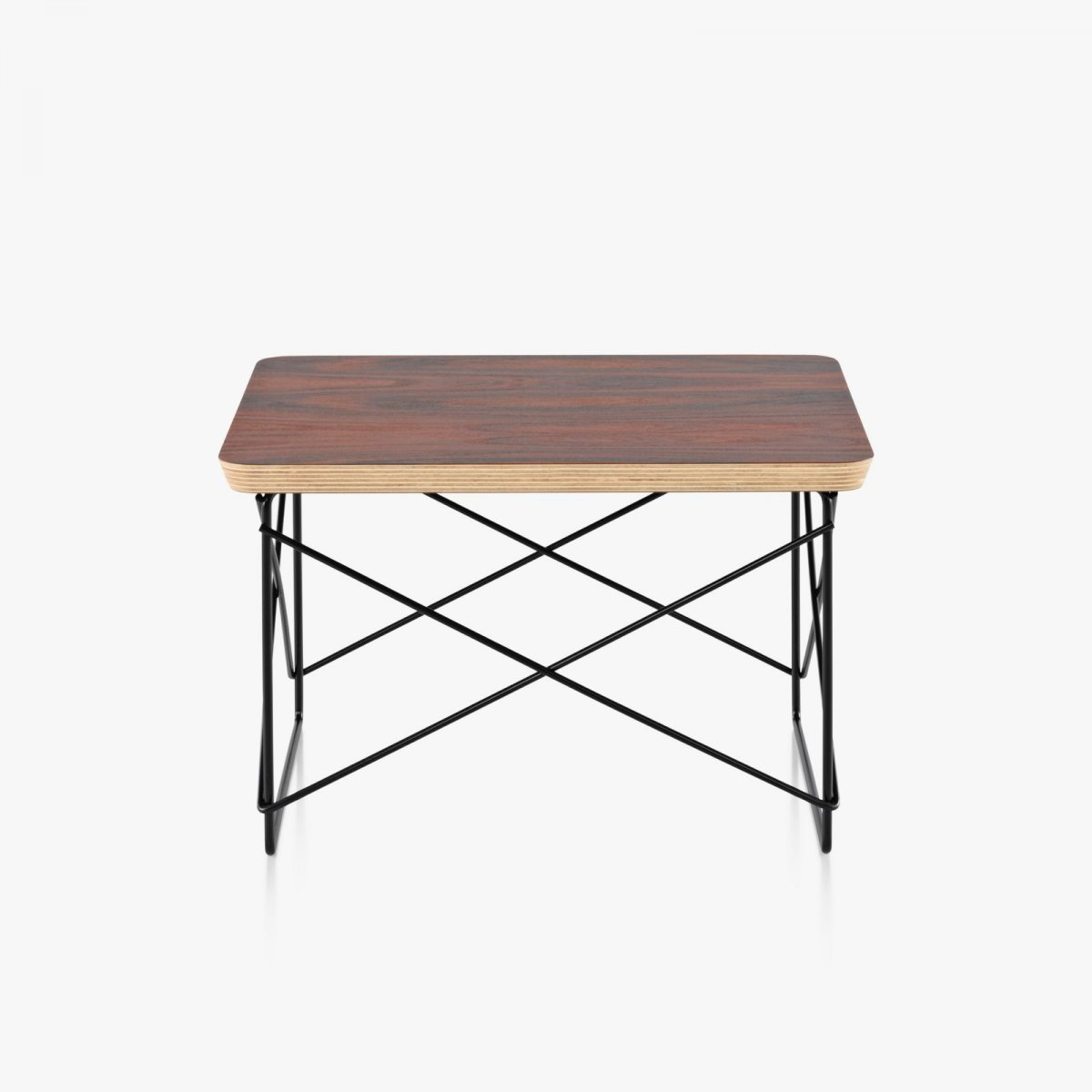 Eames Wire Base Low Table, santos palisander top with black base.