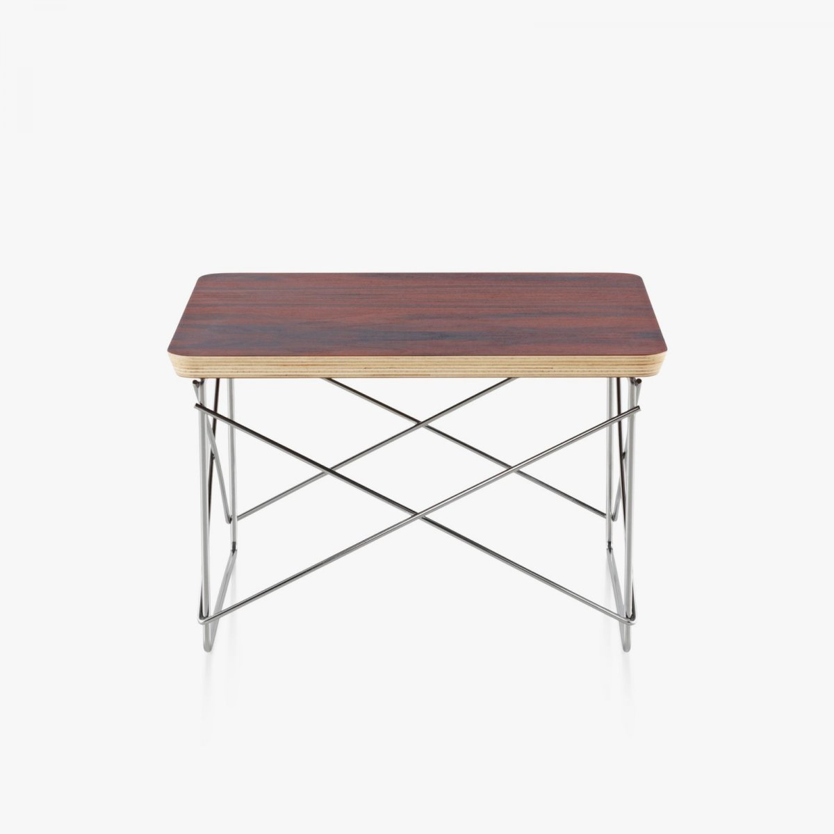 Eames Wire Base Low Table, santos palisander top with trivalent chrome base.