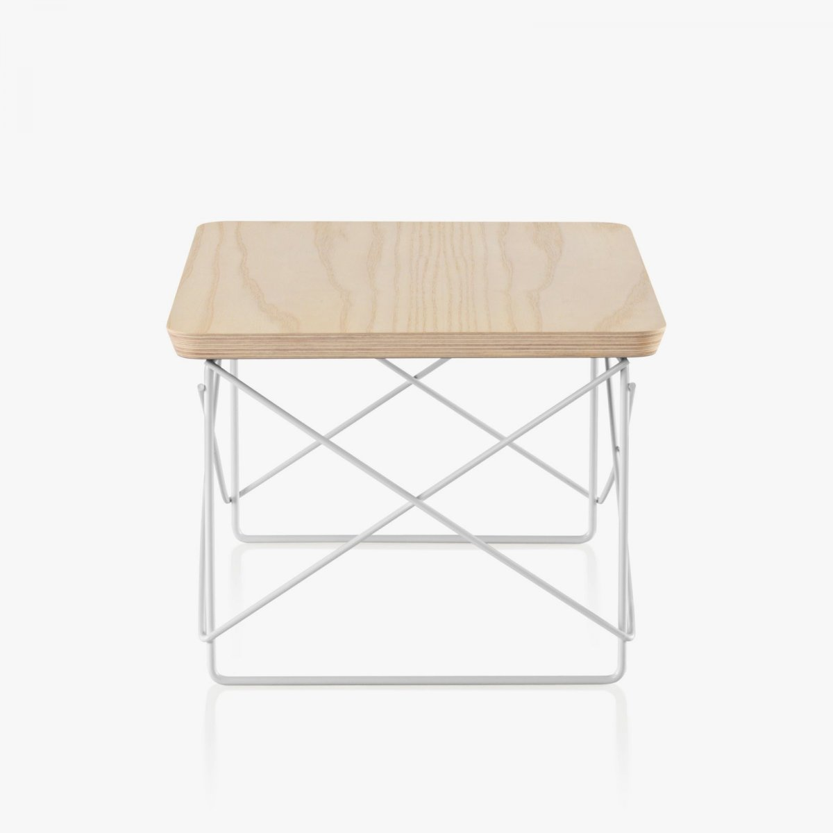 Eames Wire Base Low Table, white ash top with white base, side view.