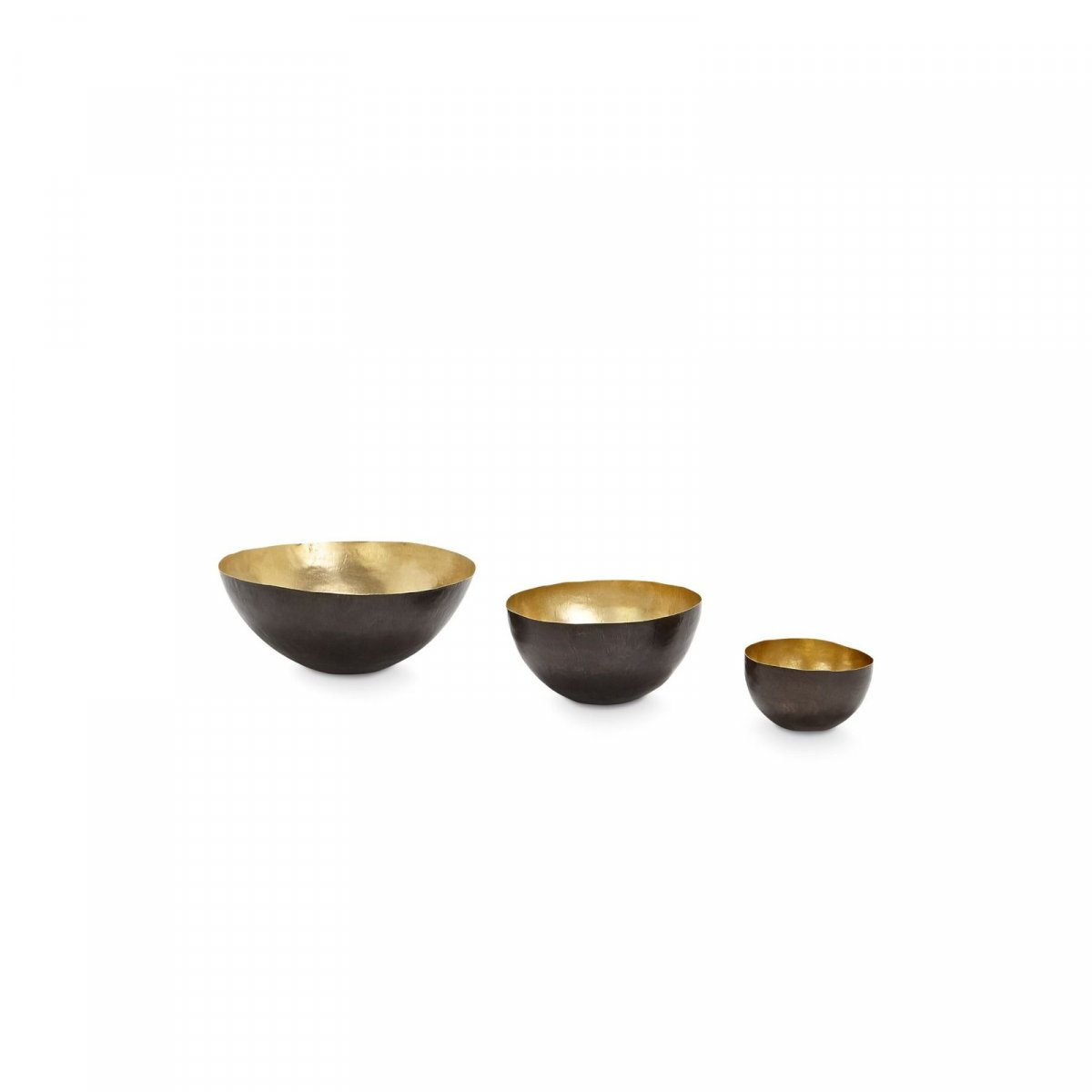 Form Bowl Deep Set Small, Black & Brass.