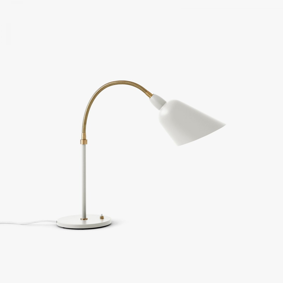Bellevue AJ8 work lamp, ivory white + brass.