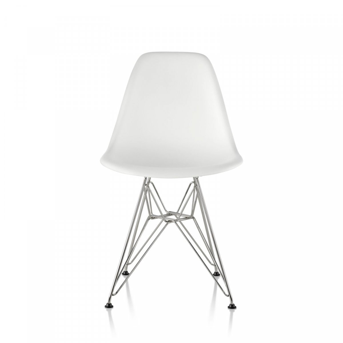 Eames Molded Plastic Side Chair Wire Base, white seat and back, trivalent chrome base, front view.