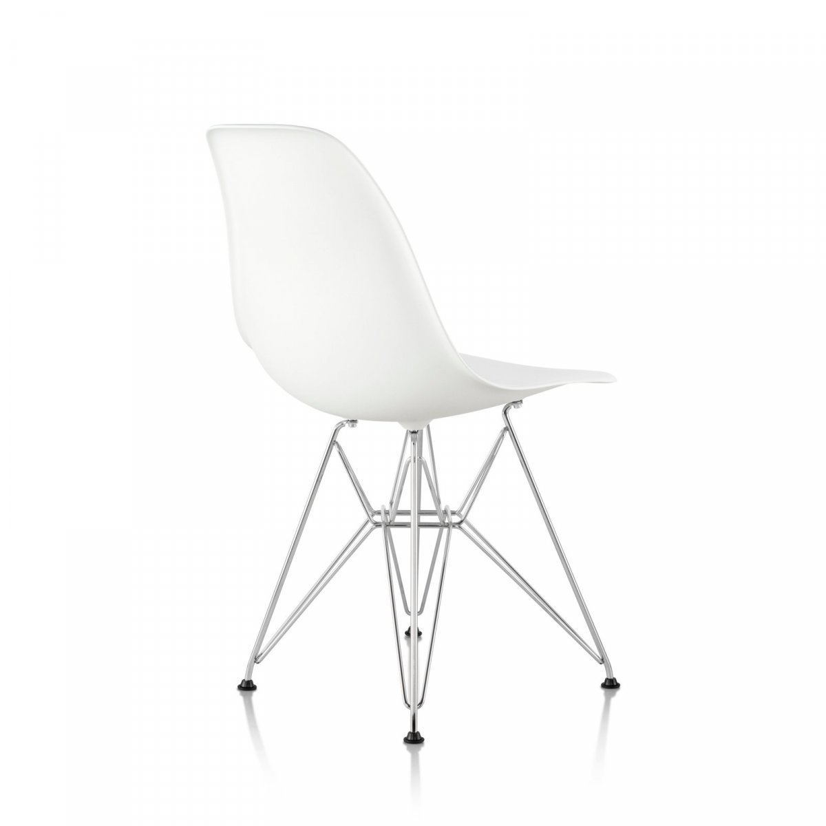 Eames Molded Plastic Side Chair Wire Base, white seat and back, trivalent chrome base, back view.
