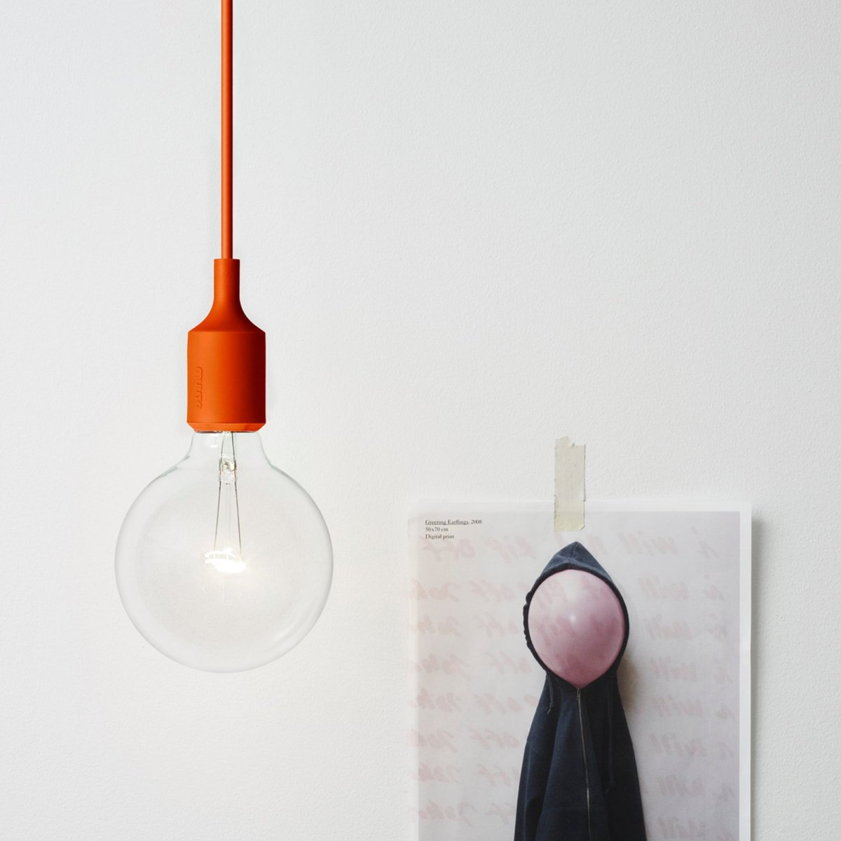 E27 Pendant Lamp, orange.