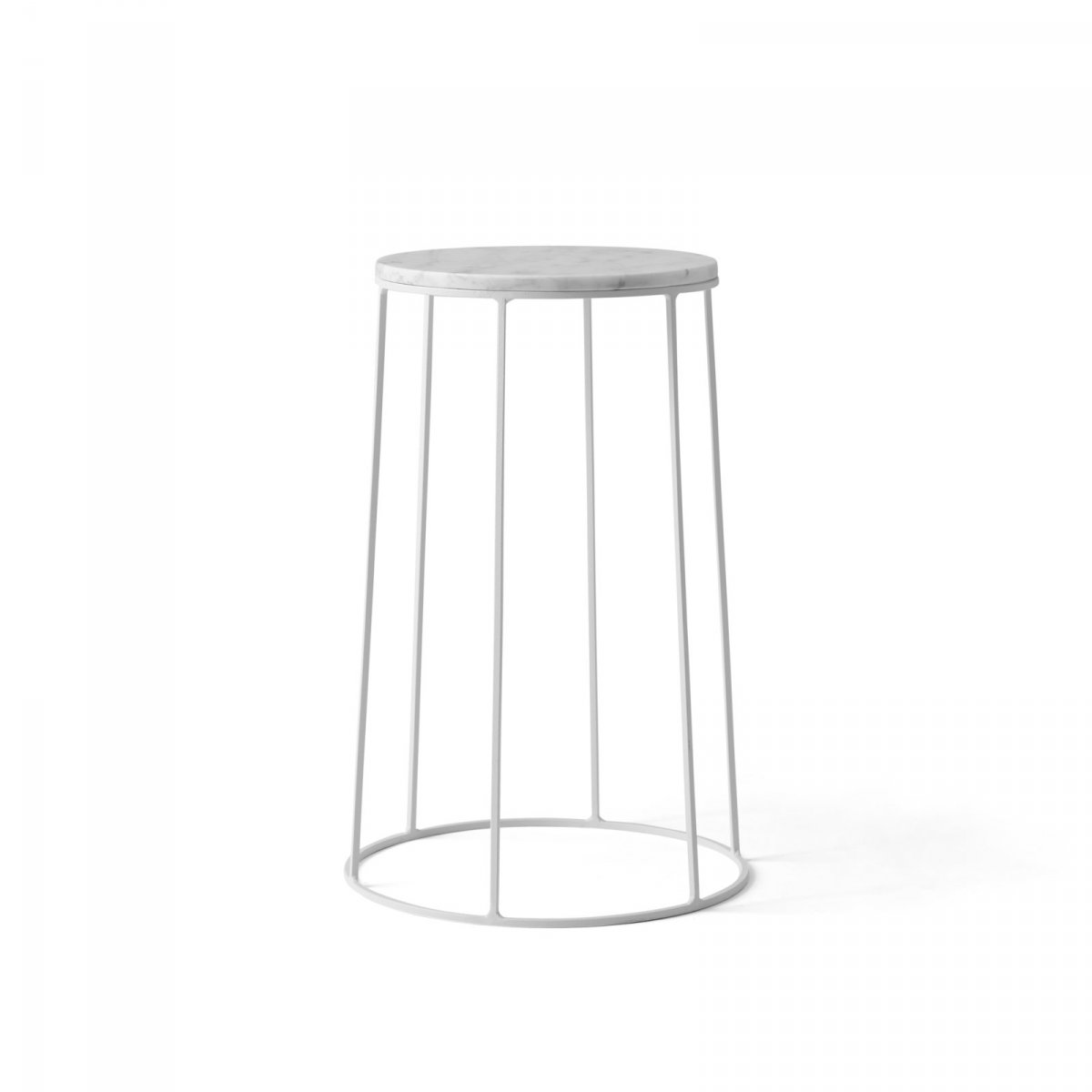 Wire Marble Top and Base, white, medium.
