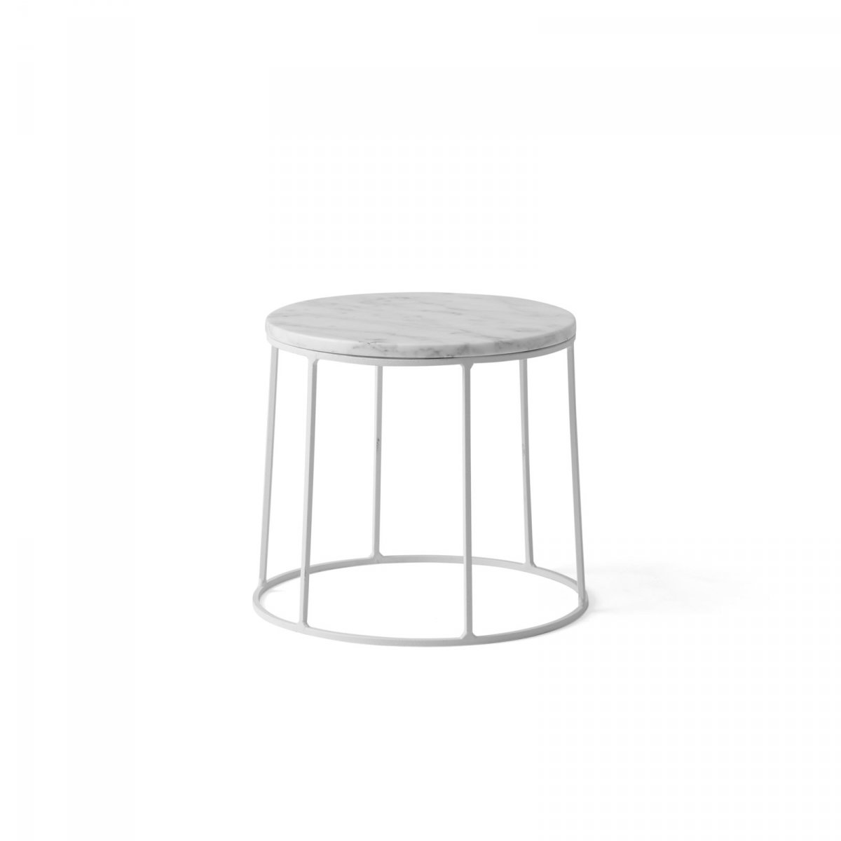 Wire Marble Top and Base, white, small.