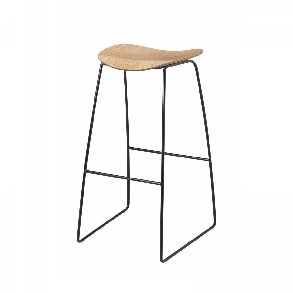 Gubi 2D Stool Sled Base, oak + black.
