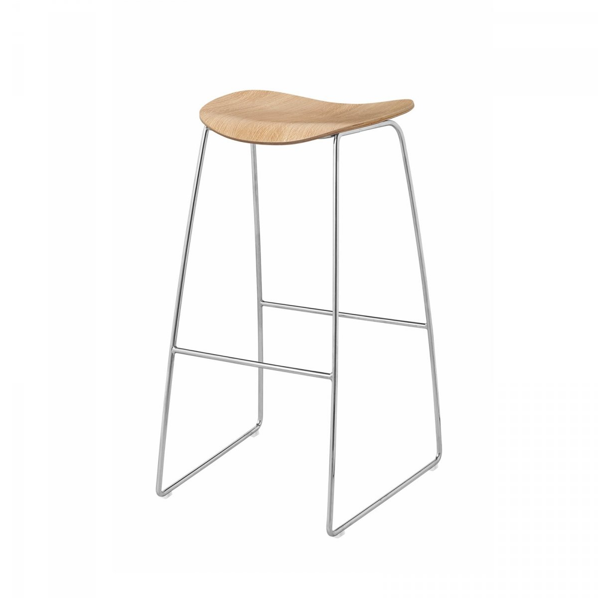 Gubi 2D Stool Sled Base, oak + chrome.