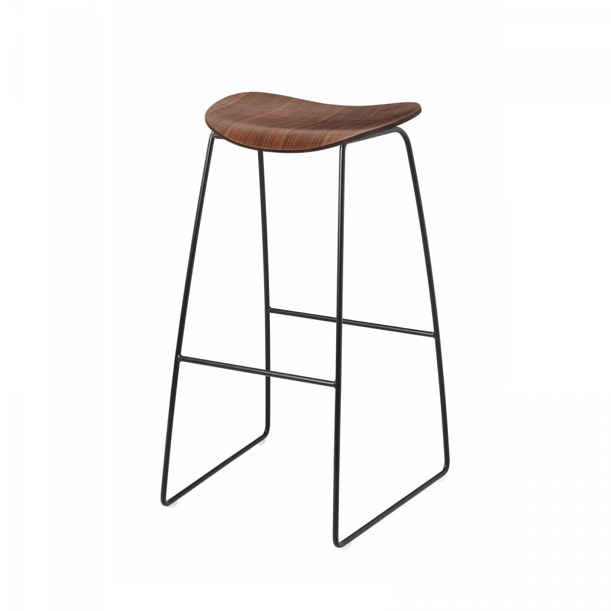 Gubi 2D Stool Sled Base, walnut + black.
