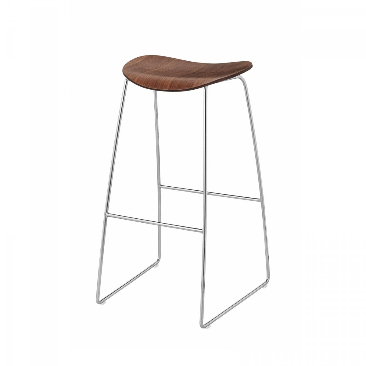 Gubi 2D Stool Sled Base, walnut + chrome.