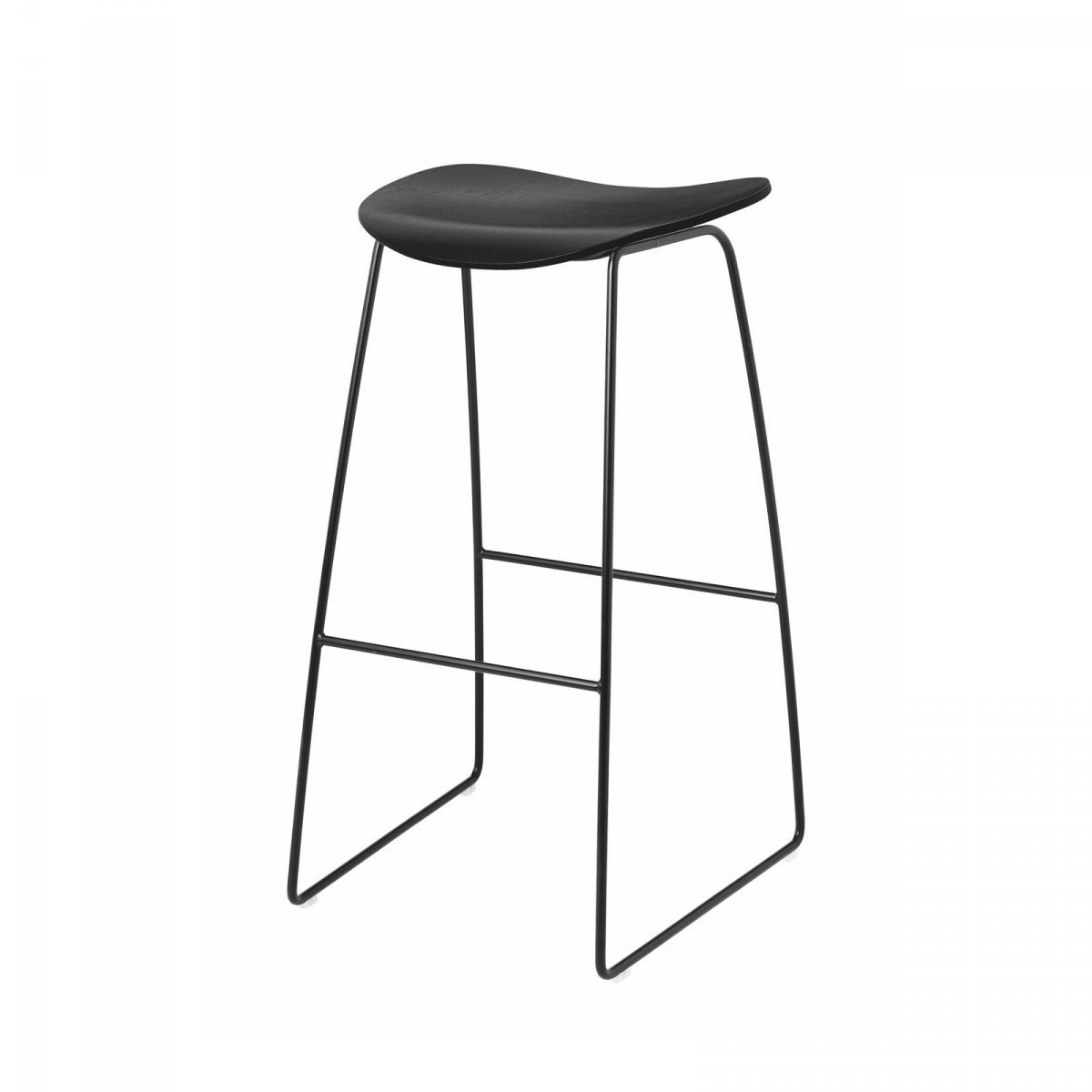 Gubi 2D Stool Sled Base, black.