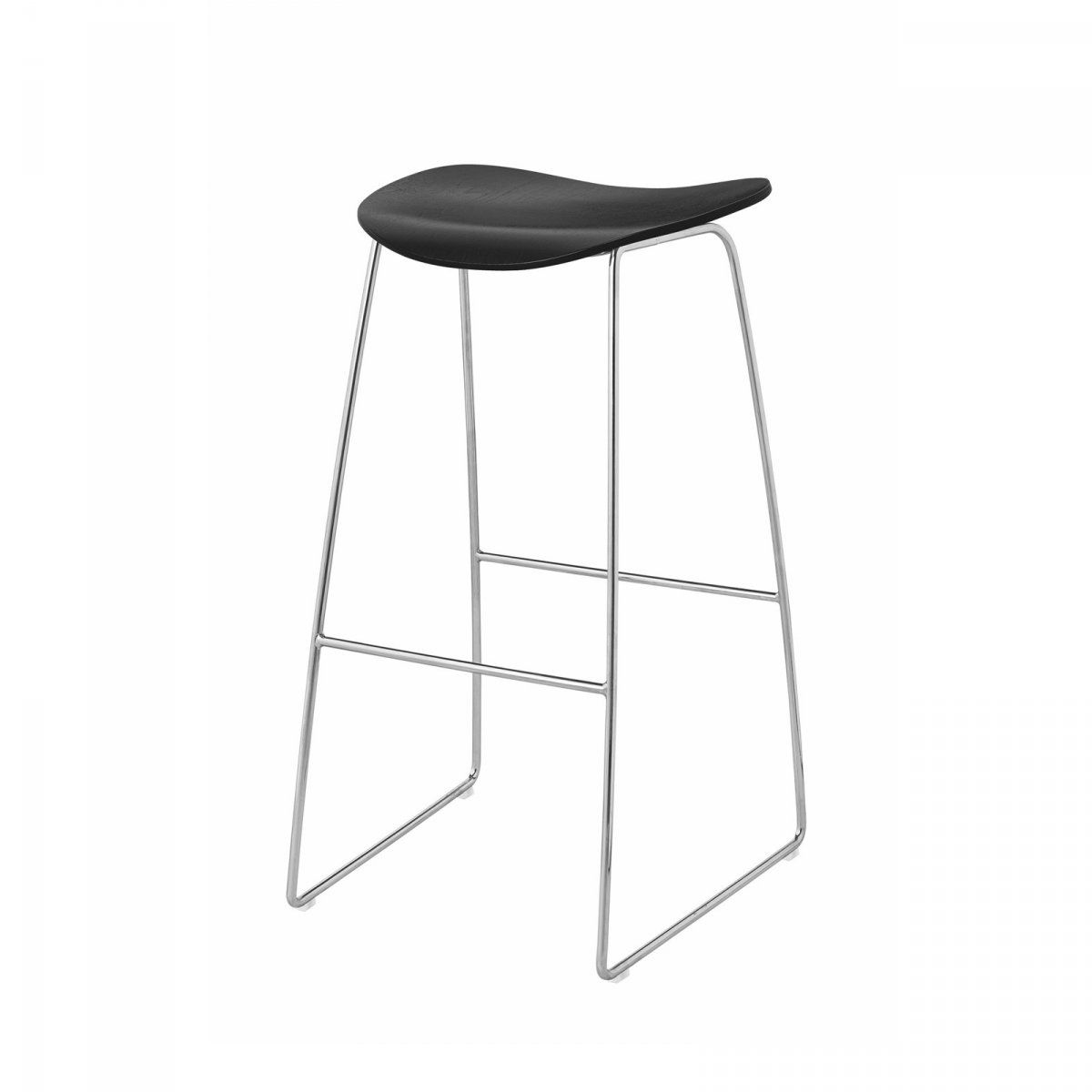 Gubi 2D Stool Sled Base, black + chrome.