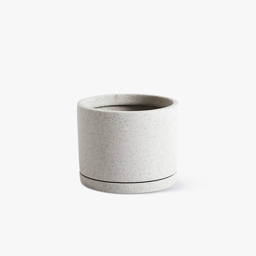Plant Pot with Saucer, L, gray.