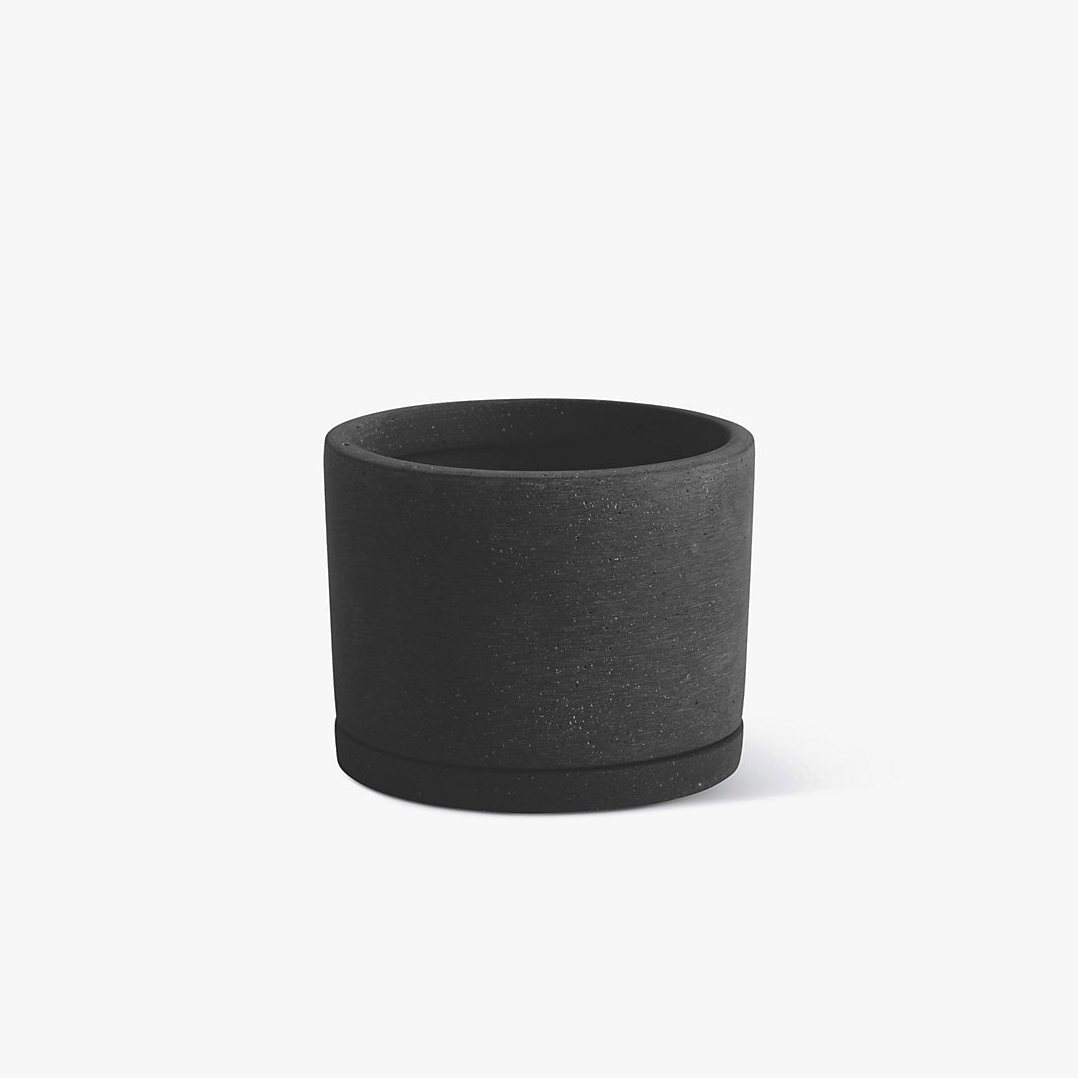 Plant Pot with Saucer, L, black.