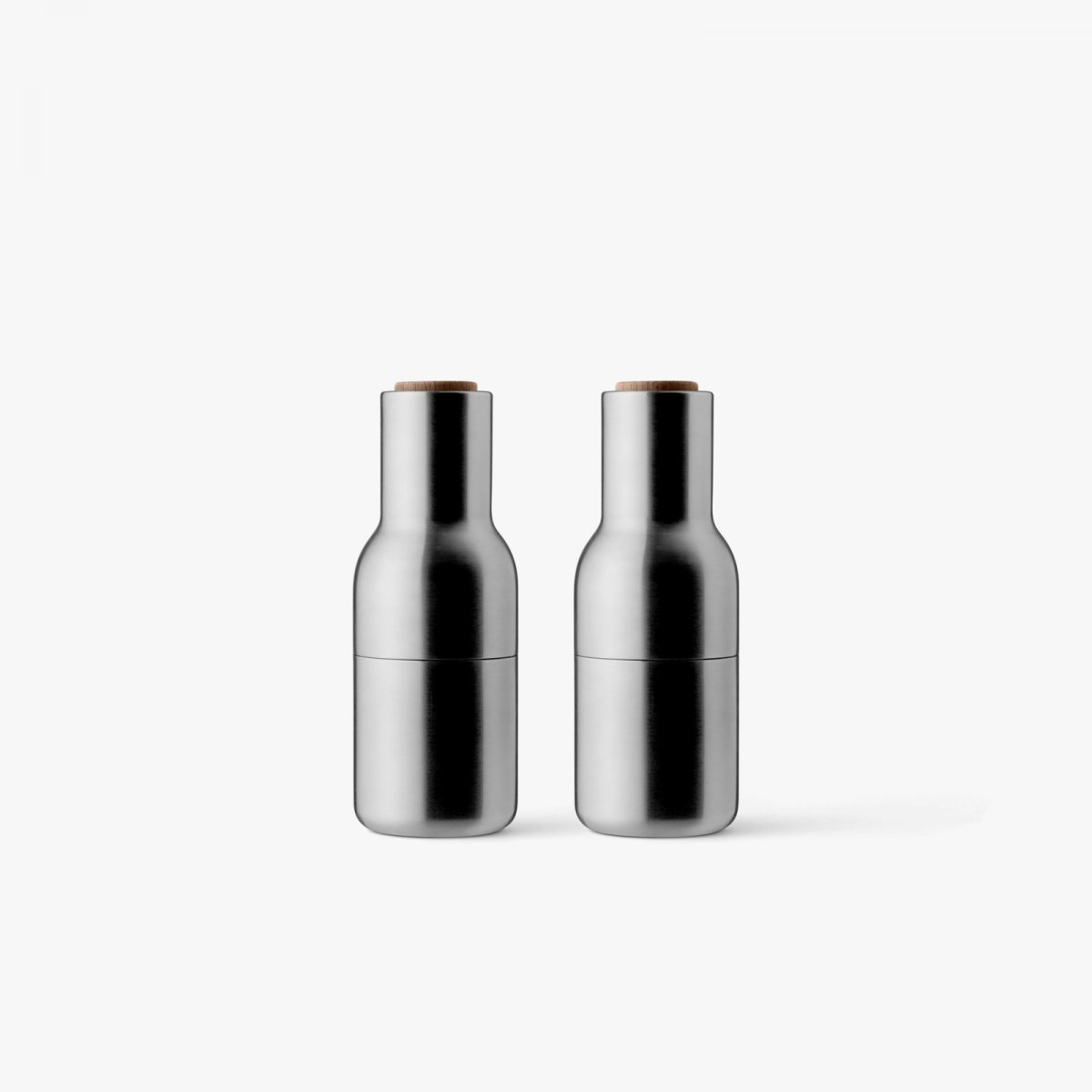 Bottle Grinders, brushed stainless steel + walnut.