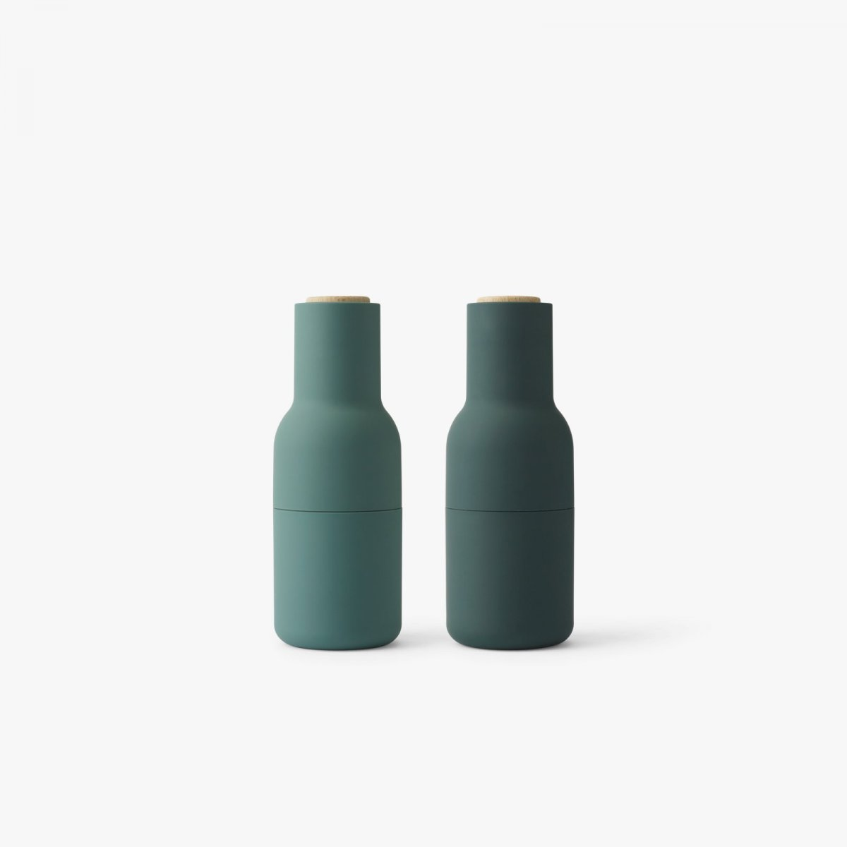 Bottle Grinders, oak + dark green.