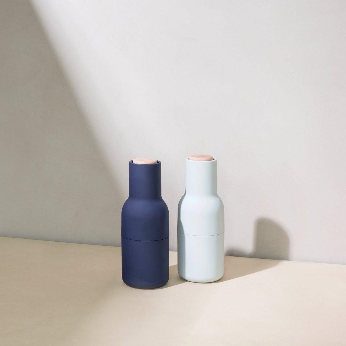 Bottle Grinders, oak + classic blue.