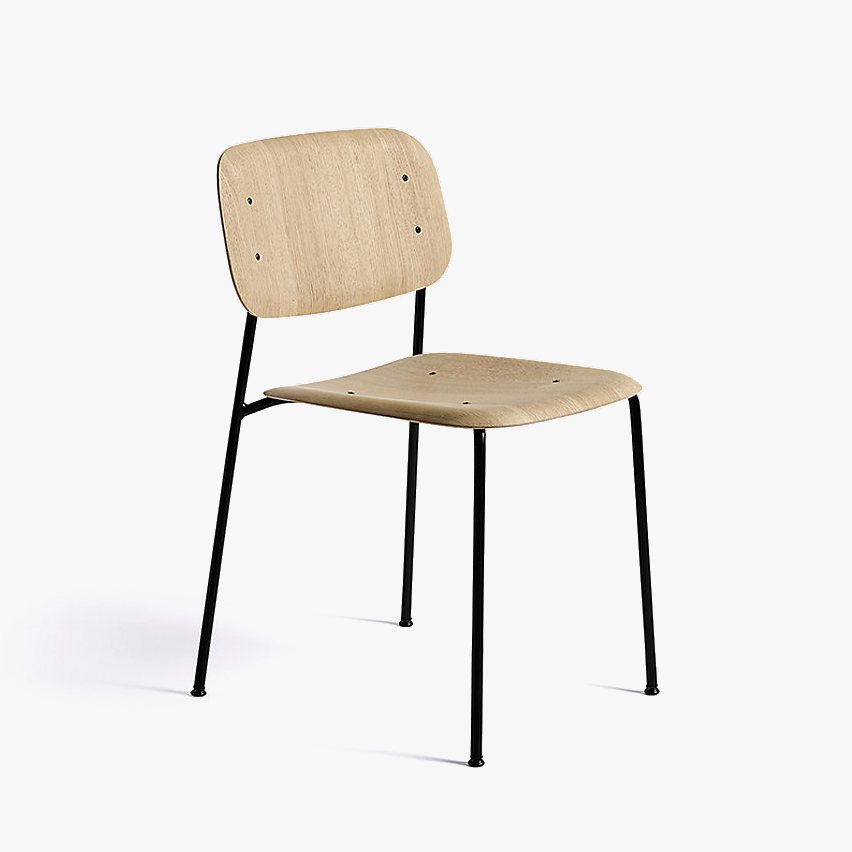 Soft Edge 10 Side Chair, oak + black.