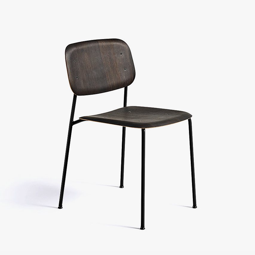 Soft Edge 10 Side Chair, smoked oak + black.
