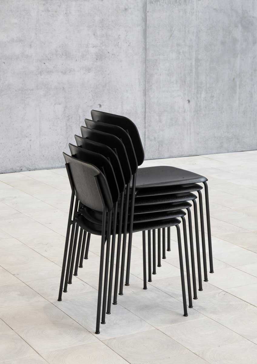 Soft Edge 10 Side Chairs, black, stacked.