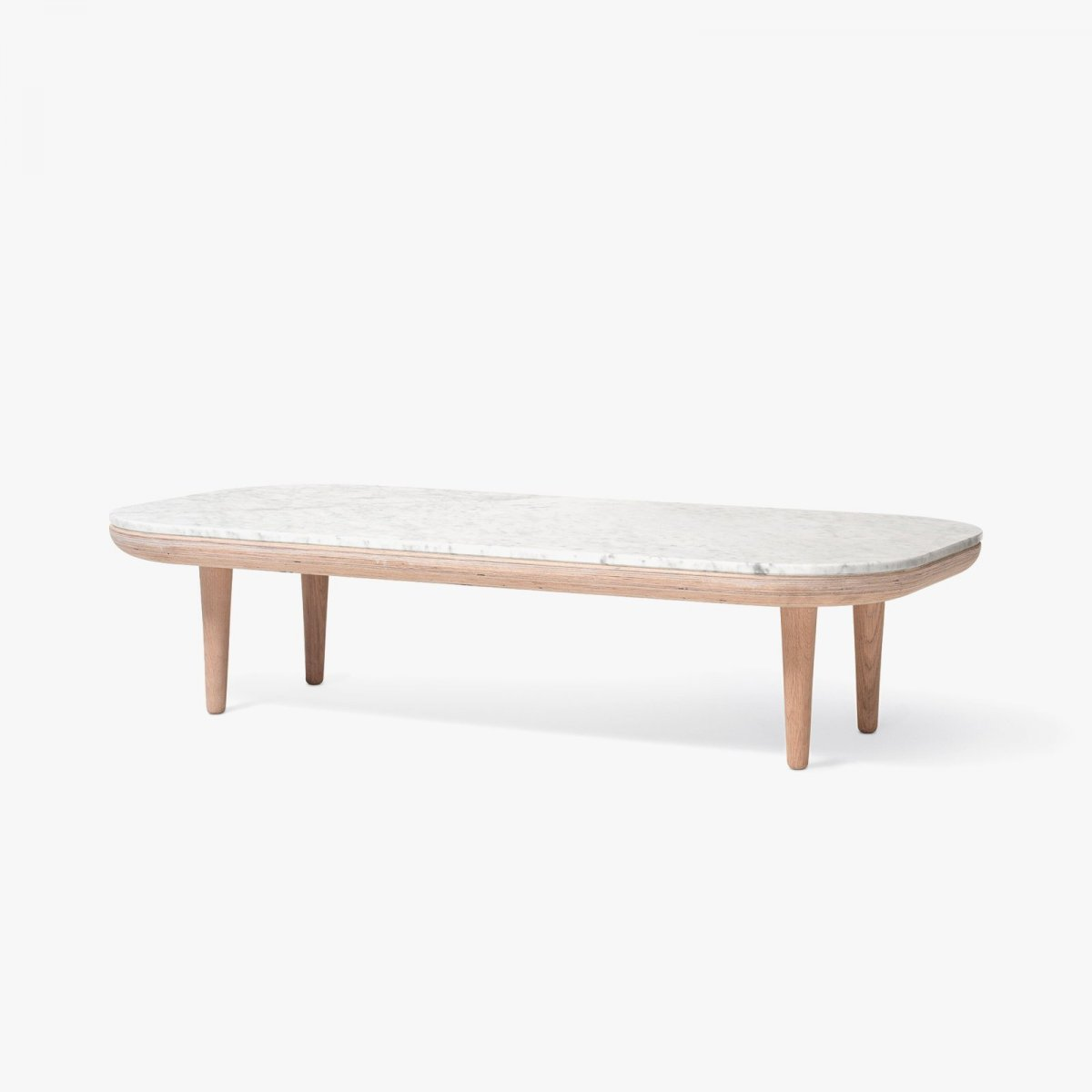 Fly Table SC5, white oiled oak frame with honed Bianco Carrara marble top.